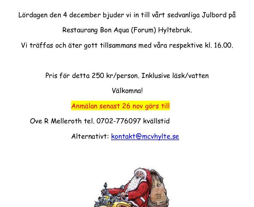 Intresseanmälan julbord 2021-12-04